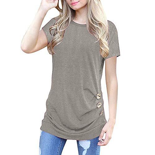 XIAOBAOZITXU dames korte mouwen losse knoopsluiting effen ronde hals tuniek T-shirt (grijs)