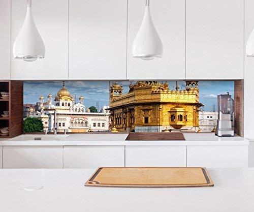 Aufkleber Küchenrückwand Hari Mandir goldener Tempel Indien Folie selbstklebend Dekofolie Fliesen Möbelfolie Spritzschutz 22A566, Höhe x Länge:90cm x 200cm