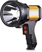 BUYSIGHT Rechargeable spotlight,Spot lights hand held large flashlight 6000 lumens handheld spotlight Lightweight and Super bright flashlight (Aluminium_Alloy Golden)
