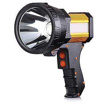 BUYSIGHT Rechargeable Spotlight,Spot Lights Hand held Large Flashlight 6000 lumens Handheld Spotlight Lightweight and Super Bright Flashlight  Aluminium_Alloy Golden