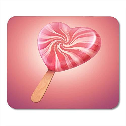 Mauspads Eisweiß Creme Sweet Pink und Vanille Candy Herzförmig Lolly Pop Red Swirl Sweetheart Mauspad für Notebooks, Desktop-Computer Matten Büromaterial