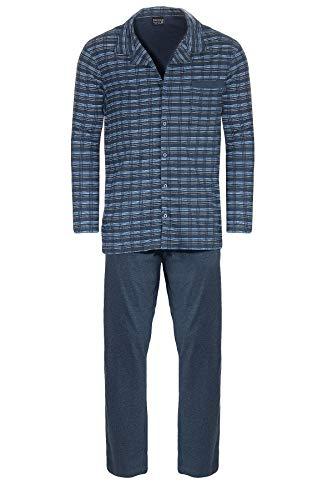 NORMANN-Wäschefabrik Herren Pyjama Langarm zum durchknöpfen - auch in Übergrössen bis Gr. 70-291 101 90 483, Größe2:56, Farbe:blau