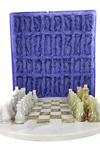 16x16inches Round Onyx and White Marble Chess Set
