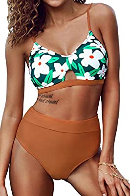 CUPSHE Women's High Waisted Leafy Print Cutout Criss Cross Bikini Swimsuit Sets, M
