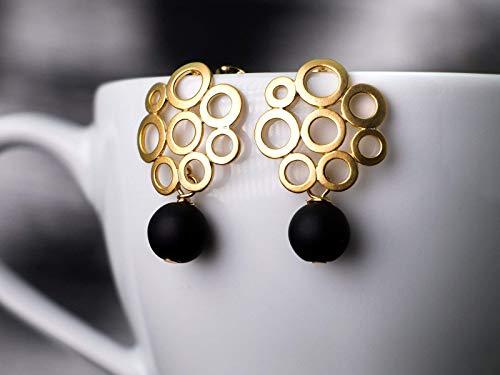 Ohrringe gold-schwarz, Retro-Ohrstecker mit Onyx-Perle, rund matt-vergoldet, Geschenk für Sie, moderner Edelstein-Schmuck