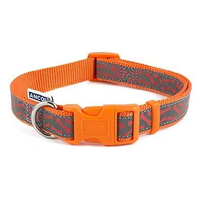 Ancol Pet Products Dog & Puppy Collars Indulgence Fashion Range (Orange Bones, Medium 30-50cm)