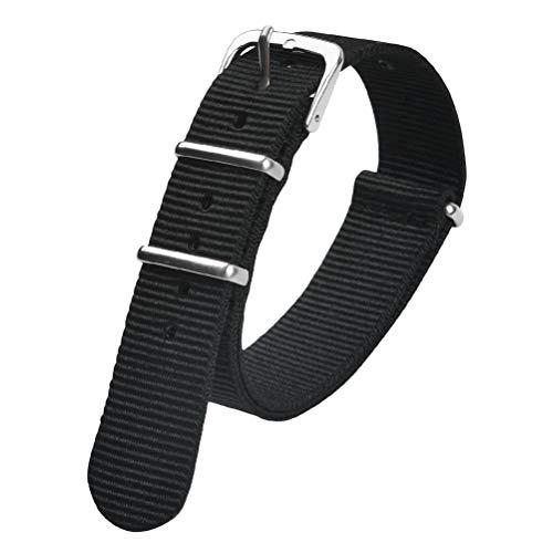 JAOMON Uhrenarmband, 18mm 20mm 22mm Sicherheitsgurt Nylon Uhrenarmbänder Hochleistungs-Nylonarmband schwarz