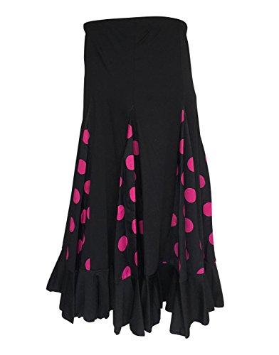 La Señorita Falda Flamenco Danza Sévillane niña Negro con Puntos Rosa (Talla 12-9/10 año)