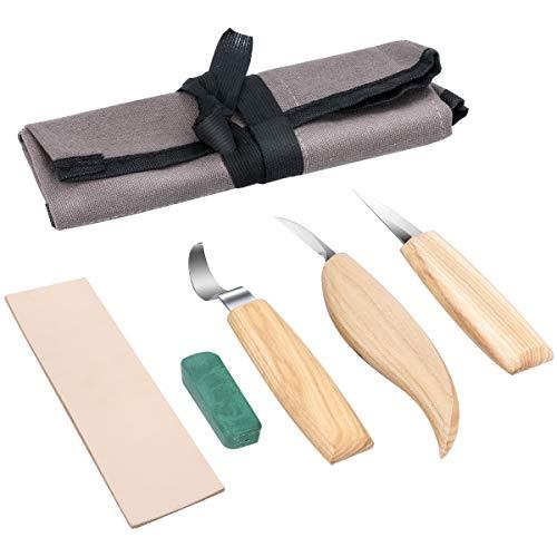 Powcan Cuchillo de Gancho de Talla de Madera para tallar cucharas Tazones Kuksa y Tazas, Herramientas de Tallado de Cuchara para diestrus Viene con un Compuesto de Pulido de Cuero y una Bolsa de Tela