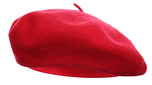 Vglook Klassische Wollmütze im französischen Stil Gr. Einheitsgröße, rot