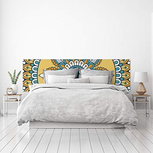 MEGADECOR Cabecero Cama PVC Decorativo Económico Diseño Geométrico de Mandala Amarillo Turquesa Varias Medidas (150 cm x 60 cm)