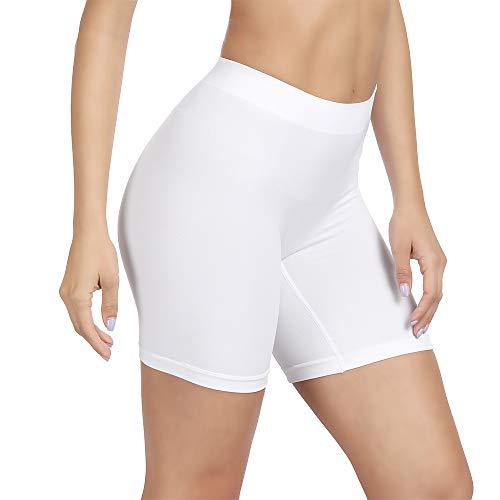 SIHOHAN Damen Unterhosen, Lange Frauen Panties, hohe Taille und Bequem, 1er Pack (weiß,2XL)