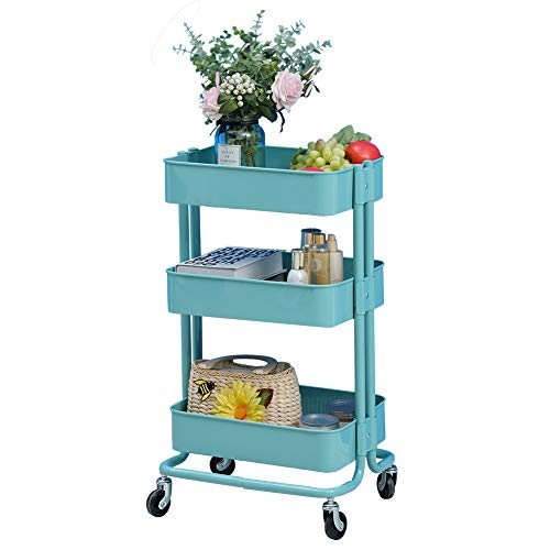3-stöckige Küchenwagen, Aufbewahrungsregal für Badezimmer, mit Rollen, schmales Lagerregal für Friseursalon, Ablage, für Catering, Servierwagen