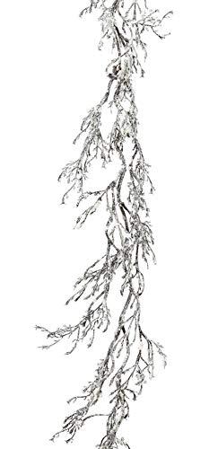 creativ home Künstliche Dekogirlande ca 180 cm beschneit. Wurzelranke, AST, Wurzel, Zweig mit Schnee.