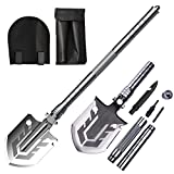 Funcall Survival Camping Shovel Multifunctional Folding Shovel 15-28inch Heavy Duty Alloy Steel Tactical Shovel with Saw for Hiking, Backpacking, Gardening, Hunting, Car Emergency