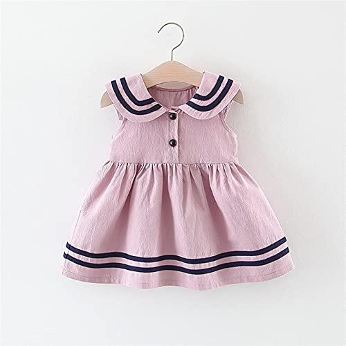 Zzx Ropa para niños Venta al por Mayor Niñas Faldas Summer Infant Niños Navy Wind Chaleco Falda Pequeño Virgen Virgin Baby Summer Princess Vestido (Color : Pink, Size : 80)