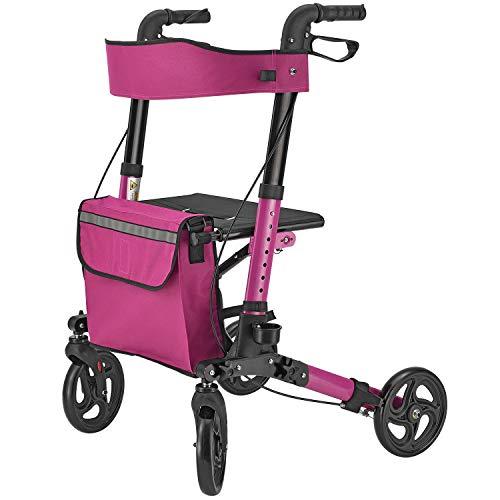 Juskys Aluminium Rollator Vital faltbar & leicht | 6-fach höhenverstellbar | Gehwagen mit Sitz, Bremse und Tasche | 130 kg | lila-pink