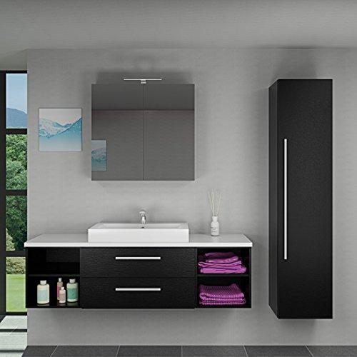 Badmöbel Set City 303 V4 Esche schwarz, Badezimmermöbel, Waschtisch 160cm, Beleuchtung Spiegelschrank:mit 1 x 5W LED-Strahler +30.-EUR