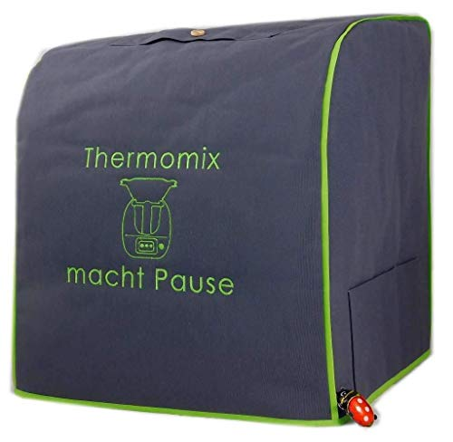 Abdeckhaube-Thermomix, TM 6, TM 5 MIT Varoma, Mod. Thermomix macht Pause, Dunkelgrau mit apfelgrün Baumwolle Stickerei