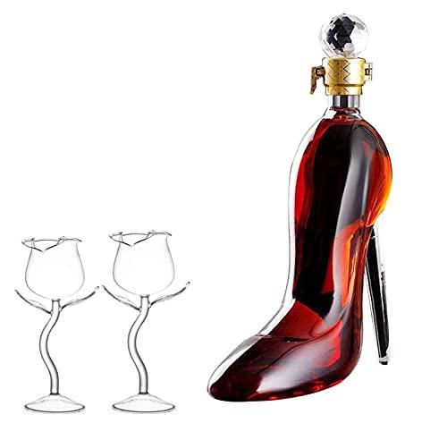 Decantador de botella de vino Juego de decantador en forma de tacones altos únicos - Botella de vino de vodka con 2 copas de vino tinto de flor rosa de 100 ml, regalo de cumpleaños de esposo a esposa
