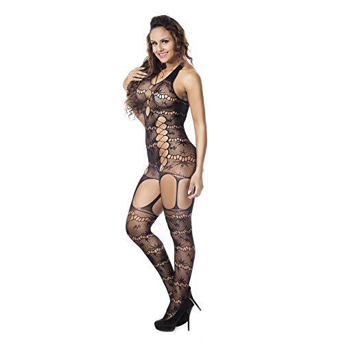 Tonsee Damen Sexy Jumpsuit,Mesh Transparent Net Dessous Set Fischnetz Babydoll Mini Kleid Free Size Bodysuit Nachtwäsche Unterwäsche Strumpfhosen
