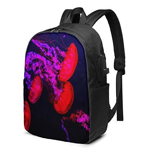 WEQDUJG Mochila Portatil 17 Pulgadas Mochila Hombre Mujer con Puerto USB, Enjambre Rosa de Medusas Mochila para El Laptop para Ordenador del Trabajo Viaje