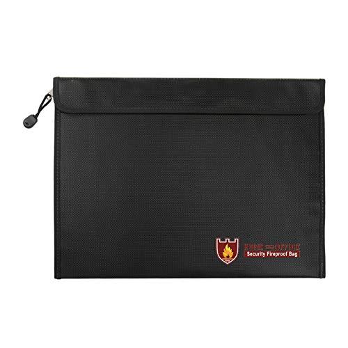 TsunNee Bolsa de documentos, resistente al agua, bolsa de seguridad ignífuga, bolsa de seguridad contra incendios, 15 x 11 pulgadas, color negro