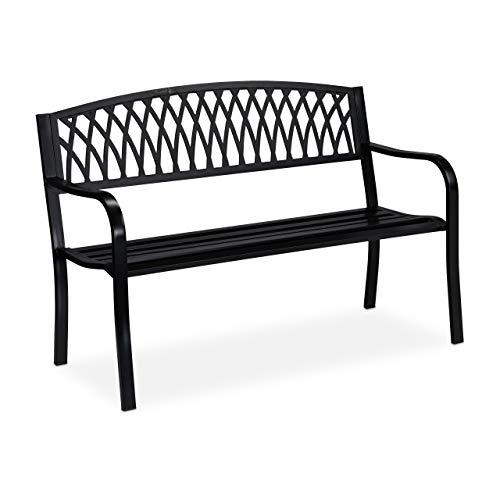 Relaxdays Gartenbank, Outdoor, 2-Sitzer, wetterfest, Anti-Rost-Beschichtung, Metall Sitzbank, HBT: 87x127x60 cm, schwarz