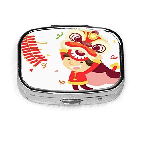 Año colorido danza del león chino rojo asiático oro niño cuadrado pastillero cajas decorativas pastillero medicina tableta soporte pared