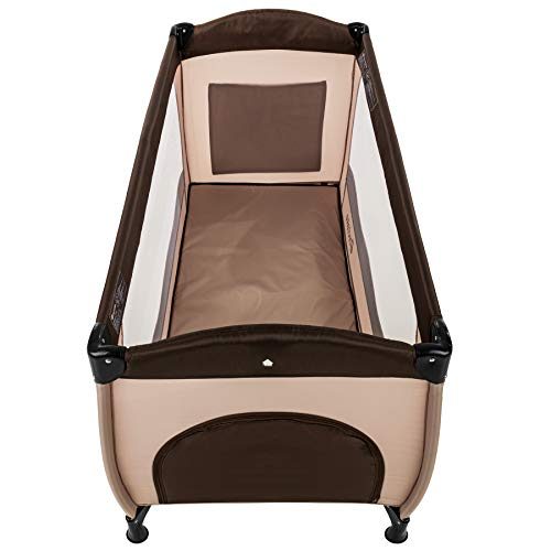 TecTake Kinderreisebett mit Schlafunterlage und praktischer Transporttasche - diverse Farben - (Coffee | Nr. 402417) - 3