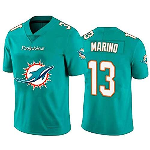 Men's Rugby Jersey - Marino # 13 Dolphins Bordado Bordado Fútbol Americano Sportswear tee Shirts, Fitness Sleeve Corta Repetible Limpieza Mejor Regalo Cyan C-XXL