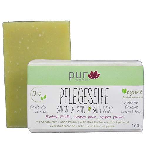 Pflegeseife Olive-Lorbeer 100 g Bio Natur-Olivenölseife ohne Duft pur Manufaktur