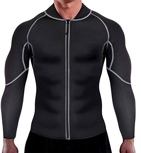Chumian Sauna Dimagrante Uomo Neoprene Fitness Manica Lunga T-Shirt per Sudorazione Sauna Sudore Canotta Dimagrimento Body Shaper (Nero, XXXXL)