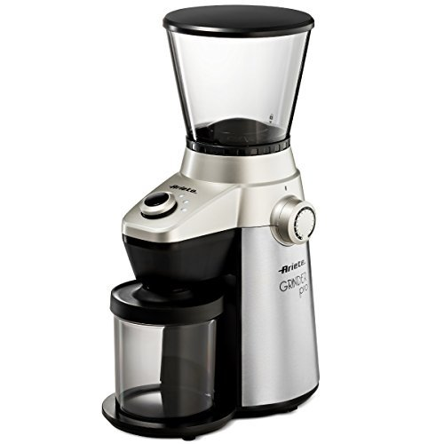 Ariete-Delonghi Conical Burr Electric Coffee Grinder - Professional Heavy Duty Stainless Steel | Ultra Fine Grind with Adjustable Cup Size | 15 Fine - Coarse Grind Size Settings