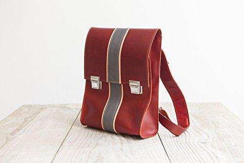 Rucksack rotes Leder Studenten Tasche Handwerkskunst aus Bayern Backpack für Freizeit Büro Schule