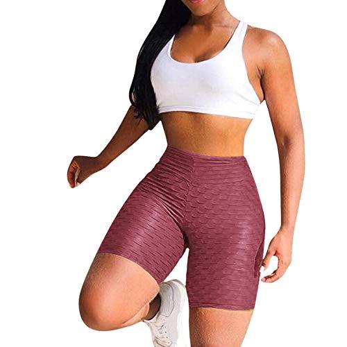 Pantalones cortos de yoga para mujer Gimnasia de cintura alta para mujer, flexiones sin costuras, gimnasia, shorts, fitness, culo apretado, entrenamiento, ejercicio de vientre, leggings-Bean_paste_X