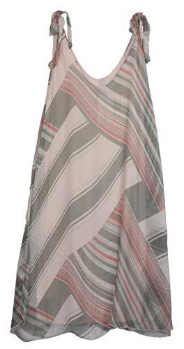 BZNA Ibiza Empire Sommerkleid Rosa gestreift Seidenkleid Bozana Sommer Herbst Seidenkleid Damen Dress Kleid elegant