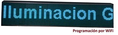 Cartel LED programable por WiFi / Letrero programable / Pantalla programable / Pantalla de Texto con Movimiento / Rótulo Luminoso (160x32 cm, Azul)
