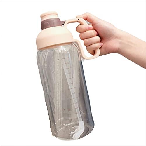 UKKO Bottiglia d'Acqua Tazza di Plastica Graduata Grande capacità 1.8L Bottiglia di Acqua Portatile Bottiglia di Paglia Space Tazza Sport All'Aperto Bollitore Bpa Gratis-1600Ml,Light Pink