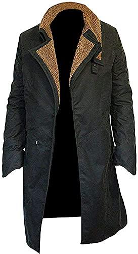 Blade Runner 2049 Ryan Gosling Long Black Coat  Ufficiale K Jacket Trench Coat Uomo, Cappotto di pelliccia di cotone, XL