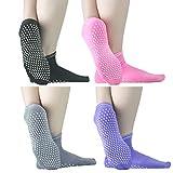 Sticky Grips Socks For Men Women - ELUTONG 4 Pack Thickening Tile/Wood Floors Non Skid Slip Barre Socks For The Senior Citizens Winter Warm Piyo Ballet Socks