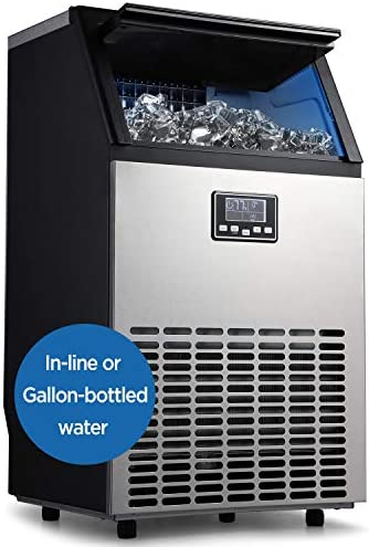 ADT Ice Machine 100LBS 24H Automatic Water inlet Stainless Steel Commercial Ice Maker 100LB product image