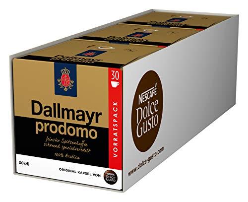 NESCAFÉ Dolce Gusto Dallmayr Prodomo, XXL-Vorratsbox, 90 Kaffeekapseln, 100{ab69f28c7105ea51128b5fa144496378ff9280ee0dc904da4a29c5c633d7d211} Arabica-Bohnen, Spitzenqualität für einen vollaromatischen Geschmack, Aromaversiegelte Kapseln, 3er Pack (3 x 30 Kapseln)