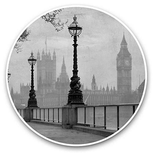 Impresionantes pegatinas de vinilo (juego de 2) 25 cm bw – Vintage Sepia Londres Big Ben UK Divertidas calcomanías para portátiles, tabletas, equipaje, reserva de chatarras, neveras, regalo genial #36425