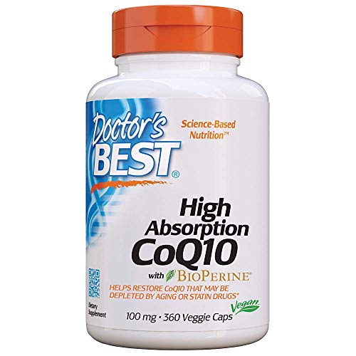 Doctor's Best High Absorption CoQ10 with BioPerine, Gluten Free, Naturally Fermented, Vegan, Heart Health & Energy Production, 100 mg 360 Veggie Caps