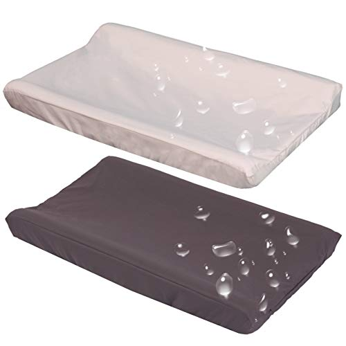 Belsden 2 Pack Waterproof Wipeable Changing Pad Cover, Soft Microfiber Diaper Change Table Sheets for Baby Boys and Girls, Fit 32' x 16' Changing Pad, Machine Washable Durable, Dark Grey & Apricot