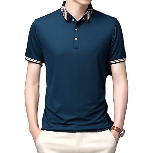 Camiseta de Manga Corta con Solapa para Hombre, Tendencia de Verano, Costura de Colores, versión Regular, Ropa Suelta Coreana Salvaje L