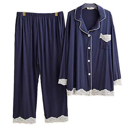 Koreanischer Stil Pyjama Sexy Spitze Nachtwäsche Damen Langarm Modal Nachtwäsche...