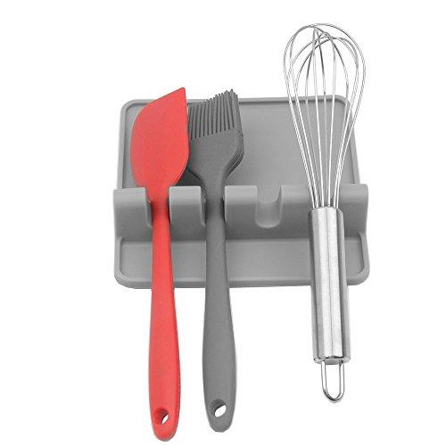 Kitchen Utensil Rest.Spoon rest Ladle Spoon holder (gray)