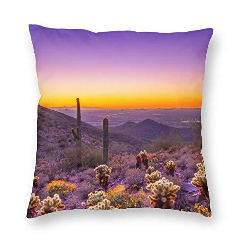 Weretlyop Hermosas fundas de almohada cuadradas de Arizona, flores silvestres y cactus morado, para el hogar, sofá, coches, decoración blanca de 66 cm x 26 cm